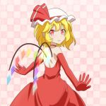 1girl alternate_costume backless_dress backless_outfit bangs bare_shoulders blonde_hair cato_(monocatienus) checkered checkered_background choker commentary_request cowboy_shot dress elbow_gloves eyebrows_visible_through_hair flandre_scarlet from_behind gloves hat hat_ribbon looking_at_viewer looking_back mob_cap outstretched_arms parted_lips pink_background red_choker red_dress red_eyes red_gloves ribbon short_hair slit_pupils solo spread_arms standing touhou white_headwear wings