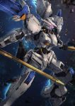 aiyat_@_maotto blurry blurry_background commentary_request damaged debris dual_wielding glowing glowing_eyes gundam gundam_bael gundam_tekketsu_no_orphans highres holding holding_sword holding_weapon looking_away mecha no_humans pink_eyes profile robot science_fiction solo space sword thrusters v-fin weapon