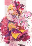 1girl absurdres alternate_costume bangs blonde_hair cherry_blossoms crystal flandre_scarlet floral_print flower flower_(symbol) hair_ornament hat hat_ribbon highres japanese_clothes kimono looking_at_viewer obi petals print_kimono red_eyes red_kimono ribbon sash short_kimono short_yukata side_ponytail simple_background smile solo touhou umemaro_(siona0908) wide_sleeves wings yukata