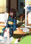 1girl architecture barefoot blue_kimono brown_hair bucket cat east_asian_architecture fan green_eyes highres hirotsuki japanese_clothes kimono long_hair obi open_door original outdoors print_kimono sash sitting sliding_doors soaking_feet summer tatami veranda wide_sleeves yukata