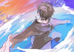 1boy axxxaxxxxa brown_hair brown_hoodie brown_jacket child clouds eren_yeager facing_away happy highres hood hoodie jacket male_focus ocean outstretched_arms shingeki_no_kyojin short_hair sky solo spread_arms younger