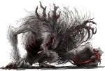 1other antlers bloodborne cleric_beast commentary_request grey_fur kan_(aaaaari35) monster no_eyes open_mouth ribs sharp_teeth simple_background solo teeth white_background