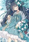 1girl :d alternate_hair_color aqua_dress aqua_eyes aqua_ribbon aqua_theme bangs basket beads bracelet carrying_over_shoulder chinese_clothes dress earrings feet_out_of_frame fenghu_(huli) flat_chest flower hair_between_eyes hair_flower hair_ornament hair_ribbon hanfu hatsune_miku head_tilt highres holding holding_umbrella jewelry leaf long_hair long_sleeves looking_at_viewer motion_blur necklace open_mouth oriental_umbrella ribbon sash smile solo standing tassel twintails umbrella very_long_hair vocaloid