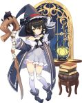 1girl ash_arms black_hair chair collarbone full_body gloves hat jacket lantern navel official_art ribbon short_hair smile solo staff thigh-highs transparent_background white_gloves witch_hat yellow_eyes