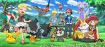 2boys 2girls :d ahoge ash_ketchum bare_arms baseball_cap bike_shorts black_hair blonde_hair blue_eyes blue_jacket blue_jumpsuit bonnie_(pokemon) braixen brown_shirt bunnelby chespin clemont_(pokemon) clenched_hands closed_eyes clouds cup day dedenne eevee flower frogadier gen_1_pokemon gen_4_pokemon gen_6_pokemon glasses goodra grass happy hat hawlucha highres jacket jumpsuit light_brown_hair luxray multiple_boys multiple_girls noibat on_lap open_mouth outdoors pancham pikachu pink_footwear pink_headwear pokemoa pokemon pokemon_(anime) pokemon_(creature) pokemon_on_lap pokemon_xy_(anime) rock serena_(pokemon) shiny shiny_hair shirt shoes short_sleeves skirt sky sleeveless sleeveless_shirt smile stick table talonflame teapot tongue tree white_skirt