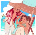 1boy 1girl bare_shoulders breasts brown_eyes brown_hair clouds dragon_quest dragon_quest_viii earrings jessica_albert jewelry kukuru_(dq8) large_breasts looking_at_viewer miyama_(kannsannn) smile swimsuit twintails umbrella
