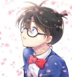 1boy bangs black-framed_eyewear blue_eyes blue_jacket bow bowtie brown_hair collared_shirt commentary edogawa_conan glasses highres jacket looking_up male_focus meitantei_conan nomino_(nominohaco) parted_lips petals red_bow red_neckwear semi-rimless_eyewear shirt short_hair solo teeth under-rim_eyewear upper_body white_shirt wing_collar
