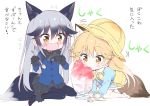 2girls animal_ears black_fur black_gloves black_hair black_neckwear black_skirt blue_legwear blush bow bowtie commentary_request extra_ears ezo_red_fox_(kemono_friends) fox_ears fox_girl fox_tail fur_trim gloves grey_hair hat kemono_friends kindergarten_uniform long_hair long_sleeves multicolored_hair multiple_girls navy_blue_jacket neckerchief necktie orange_eyes orange_hair pantyhose pleated_skirt sailor_collar school_hat shaved_ice silver_fox_(kemono_friends) silver_hair sitting skirt spoon sweatdrop tail takahashi_tetsuya tearing_up translation_request wariza wavy_mouth white_hair white_legwear yellow_neckwear younger