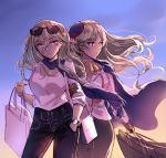 2girls bag blonde_hair blue_scarf braid breasts character_request closed_mouth denim eyebrows_visible_through_hair eyewear_on_head hair_ornament hand_in_pocket hat holding holding_arm holding_bag jeans long_hair looking_away multiple_girls open_eyes pants richelieu_(kantai_collection) scarf shirt shopping_bag skirt violet_eyes warship_girls_r watch white_shirt yuemanhuaikong
