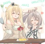 2girls blonde_hair braid closed_eyes commentary_request corset cowboy_shot crown daikon dress egg english_text flower french_braid grey_hair hachimaki hands_clasped headband high_ponytail highres japanese_clothes kantai_collection kasashi_(kasasi008) long_hair long_sleeves mini_crown multiple_girls muneate off-shoulder_dress off_shoulder omelet own_hands_together plate ponytail radish red_flower red_ribbon red_rose ribbon rose simple_background smile spatula tamagoyaki upper_body warspite_(kantai_collection) white_background white_dress zuihou_(kantai_collection)