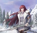 1girl arin_sel bangs belt black_legwear blue_eyes coat dress gun hair_between_eyes heterochromia highres last_origin long_hair looking_at_viewer mountain mountainous_horizon outdoors purple_hair red_eyes rifle short_dress smile snow solo t-8w_valkyrie thigh-highs tree very_long_hair weapon winter winter_clothes