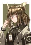 1girl antenna_hair arknights armband ayyh bangs brown_eyes brown_hair commentary_request glasses hand_up highres long_sleeves looking_at_viewer pointy_hair rhine_lab_logo round_eyewear silence_(arknights) solo upper_body