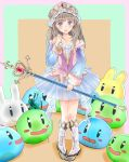 1girl atelier_(series) atelier_totori bare_shoulders blue_sleeves blush boots brown_hair hat holding holding_staff knees knees_together long_hair open_mouth puni_(atelier) skirt srrr staff standing strapless_shirt totooria_helmold translucent violet_eyes