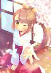 1girl ;) bangs between_legs blurry blurry_foreground blush bow breasts brown_eyes brown_hair closed_mouth depth_of_field eyebrows_visible_through_hair flower hair_ribbon hakama_pants hand_between_legs japanese_clothes kimono kouu_hiyoyo long_hair long_sleeves looking_at_viewer one_eye_closed original outstretched_arm pants petals ponytail red_bow red_pants ribbon small_breasts smile solo very_long_hair white_flower white_kimono wide_sleeves yellow_ribbon