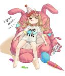 1girl absurdres air_pump balloon barefoot bed bike_shorts brown_eyes commentary_request confetti futaba_anzu highres idolmaster idolmaster_cinderella_girls long_hair low_twintails lying party_horn shirt simple_background solo string_of_flags striped striped_bike_shorts stuffed_animal stuffed_bunny stuffed_toy t-shirt twintails white_background xi_xeong you_work_you_lose