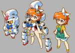 1girl bow brown_eyes chibi gundam hair_bow king_of_unlucky mecha mobile_suit_gundam orange_hair original power_armor rx-78-2 short_hair transformation v-fin yellow_eyes