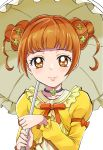 1girl bangs brown_eyes brown_hair closed_mouth clover_hair_ornament collarbone cure_rosetta dokidoki!_precure double_bun hair_ornament highres holding holding_umbrella jewelry long_sleeves looking_at_viewer neck_ribbon necklace orange_ribbon precure ribbon sharumon shiny shiny_hair shirt short_hair smile solo tied_hair umbrella upper_body yellow_shirt