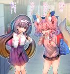 2girls animal_ear_fluff animal_ears black_hair blue_ribbon brown_hair casual commentary commentary_request embarrassed eyebrows_visible_through_hair fang fate/extra fate_(series) fox_ears fox_girl fox_tail gradient_hair hair_ribbon hairband highres long_hair low_twintails miniskirt multicolored_hair multiple_girls open_mouth osakabe-hime_(fate/grand_order) outdoors pink_hair ribbon school_uniform skirt sweat tail tamamo_(fate)_(all) tamamo_no_mae_(fate) translation_request twintails very_long_hair wisespeak yellow_eyes younger