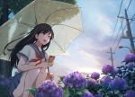 1girl :d bangs bare_legs black_hair blue_skirt blurry brown_eyes cellphone clouds commentary eyebrows_visible_through_hair flower highres hino0629 holding holding_phone holding_umbrella hydrangea lamppost long_hair open_mouth original outdoors phone pleated_skirt power_lines purple_flower rain sailor_collar school_uniform serafuku shirt skirt sky smartphone smile solo squatting thighs tree umbrella upper_teeth water_drop white_shirt