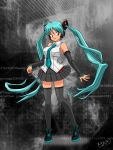 1girl black_skirt blue_hair blue_neckwear breasts detached_sleeves floating_hair fusion hatsune_miku highres large_breasts looking_to_the_side lum moechiki necktie parody red_eyes skirt smile solo standing style_parody takahashi_rumiko_(style) thigh-highs twintails urusei_yatsura vocaloid