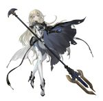1girl absurdres asukayou black_cape blonde_hair blue_eyes bodysuit cape commentary cyborg earrings full_body gauntlets grey_bodysuit hair_ornament high_heels highres holding holding_spear holding_weapon jewelry joints long_hair looking_at_viewer mecha_musume mechanical_arm original parted_lips polearm prosthesis prosthetic_arm robot_joints science_fiction simple_background single_gauntlet skin_tight solo spear standing turtleneck twitter_username weapon white_background