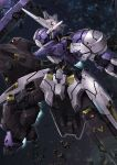 aiyat_@_maotto blurry blurry_background debris gundam gundam_kimaris_vidar gundam_tekketsu_no_orphans highres holding holding_weapon holstered_weapon horns lance looking_away mecha no_humans polearm profile robot single_horn solo space sword thrusters translation_request v-fin weapon yellow_eyes