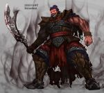 1boy armor armored_boots beard black_cape black_hair black_nails blood bloody_weapon boots breastplate cape commentary_request facial_hair fangs fate_(series) fingernails full_body glowing glowing_eyes halberd highres holding holding_weapon looking_at_viewer male_focus muscle open_mouth original polearm purple_headwear red_cape sharp_fingernails shoulder_armor solo tom-neko_(zamudo_akiyuki) torn_cape torn_clothes weapon