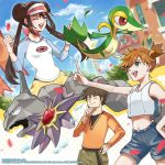 1boy 2girls belt blue_eyes blush bow breasts brock_(pokemon) brown_hair building closed_eyes closed_mouth clouds commentary dated day double_bun gen_1_pokemon gen_5_pokemon hand_on_hip hand_on_own_chin highres long_hair misty_(pokemon) multiple_girls navel official_art onix open_mouth orange_hair petals pink_bow pokemon pokemon_(creature) pokemon_(game) pokemon_masters raglan_sleeves rosa_(pokemon) shirt short_hair shorts side_ponytail sky smile snivy starmie teeth tongue twintails upper_teeth visor_cap watermark yellow_shorts