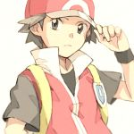 1boy backpack bag baseball_cap closed_mouth commentary_request grey_eyes grey_shirt hand_on_headwear hand_up hat looking_at_viewer male_focus matsuri_(matsuike) pokemon pokemon_(game) pokemon_frlg popped_collar red_(pokemon) shirt short_sleeves sleeveless sleeveless_jacket solo t-shirt v-neck vs_seeker white_background wristband yellow_backpack