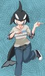 1girl alternate_costume bangs black_hair brown_eyes casual closed_mouth collarbone contemporary dolphin_tail dorsal_fin foot_up hair_over_one_eye hands_up head_fins highres kemono_friends kyonin_dofu medium_hair multicolored_hair orca_(kemono_friends) pants pointing shoes smile solo standing standing_on_one_leg sweatshirt tail two-tone_hair white_hair