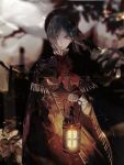1girl ascot bangs bloodborne blurry blurry_background bonnet brown_cloak brown_dress cloak commentary_request cowboy_shot doll_joints dress expressionless flower grey_hair hand_up hat holding holding_lamp joints long_sleeves looking_at_viewer plain_doll red_ribbon ribbon short_hair solo syokuuuuuuuuumura