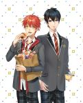 2boys :d bag black_hair blazer blue_eyes copyright_request doughnut food grey_blazer highres jacket male_focus mouth_hold multiple_boys necktie nyan5000 open_mouth pants plaid plaid_pants pudding red_neckwear redhead school_uniform shopping_bag smile standing white_background yellow_eyes