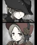 2girls bangs black_headwear bloodborne bonnet brown_eyes brown_flower close-up closed_mouth commentary_request face flower frown grey_background hair_ribbon hat hat_flower highres lady_maria_of_the_astral_clocktower long_hair looking_at_viewer low_ponytail multiple_girls parted_bangs plain_doll ponytail ribbon rose shimoda_masaya short_hair spoilers