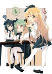 3girls ? anchovy_(girls_und_panzer) anzio_school_uniform bangs barashiya black_border black_cape black_eyes black_footwear black_hair black_neckwear black_skirt blonde_hair border braid brown_background can cape carpaccio_(girls_und_panzer) chair commentary dress_shirt drill_hair finger_to_mouth food from_side girls_und_panzer green_eyes green_hair grin heel_up highres holding holding_can leaning_forward light_frown loafers long_hair long_sleeves looking_at_another looking_at_viewer looking_back miniskirt multiple_girls necktie one_eye_closed open_mouth outline outside_border pantyhose pasta pepperoni_(girls_und_panzer) pleated_skirt red_eyes school_uniform shirt shoes short_hair shushing side_braid sitting skirt smile soda_can speech_bubble standing table twin_drills twintails white_legwear white_outline white_shirt wing_collar