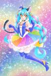 1girl :p aizen_(syoshiyuki) animal_ear_fluff animal_ears bangs black_choker blue_footwear blue_gloves blue_hair blue_headwear boots cat_ears cat_girl cat_tail choker collar collarbone cure_cosmo earrings elbow_gloves eyebrows_visible_through_hair floating_hair full_body fur-trimmed_boots fur-trimmed_gloves fur_trim gloves hair_between_eyes hat high_heel_boots high_heels highres jewelry long_hair looking_at_viewer mini_hat miniskirt multicolored multicolored_clothes multicolored_skirt precure shiny shiny_hair skirt solo star_twinkle_precure tail thigh-highs thigh_boots tongue tongue_out very_long_hair yellow_eyes