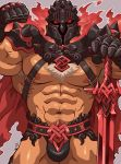 1boy abs bara bulge chest chest_hair chest_harness cowboy_shot fire flexing glowing glowing_eyes helmet highres kirupi male_focus muscle nipples pectorals pose red_eyes revealing_clothes simple_background solo surtr_(tokyo_houkago_summoners) thick_thighs thighs tokyo_houkago_summoners