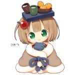 1girl :d aikei_ake animal bangs black_cat blanket blush bowl brown_hair cat chibi cup eyebrows_visible_through_hair food fruit full_body green_eyes green_tea hair_ornament hairclip highres kotatsu mandarin_orange on_head open_mouth original personification short_hair simple_background sitting smile solo table tea translation_request white_background yunomi