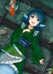 1girl :d absurdres afloat animal_print blue_eyes blue_hair commentary_request drill_hair eyebrows_visible_through_hair gravel green_kimono hand_on_own_chest head_fins highres in_water japanese_clothes kimono koi long_sleeves looking_at_viewer luke_(kyeftss) lying mermaid monster_girl obi on_back open_mouth partially_submerged railroad_tracks ripples sash short_hair short_kimono smile solo touhou twin_drills wakasagihime wide_sleeves