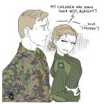 1boy 1girl absurdres angry artist_logo blonde_hair breasts camouflage camouflage_jacket clenched_teeth english_text finnish_army green_sweater hands_on_hips highres jacket large_breasts long_sleeves military military_rank_insignia military_uniform original ostwindprojekt partially_colored short_hair simple_background sketch sweater teeth uniform upper_body white_background zipper