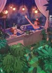 2girls arm_up bangs bathtub bottle brown_hair charging_device cup food glowing highres inukoko leaf light_bulb marshmallow multiple_girls original partially_submerged phone plant ponytail potted_plant power_strip sandals_removed short_hair tile_floor tile_wall tiles