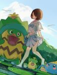 absurdres alternate_costume bangs barefoot bird blue_bow blush bob_cut bow brown_eyes brown_hair clouds commentary_request day gen_3_pokemon gloria_(pokemon) highres hoshizora lombre looking_down ludicolo navel open_mouth outdoors pleated_skirt pokemon pokemon_(creature) pokemon_(game) pokemon_swsh sailor_collar short_hair short_sleeves skirt sky standing standing_on_one_leg surskit swept_bangs tongue