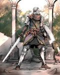 1other ambiguous_gender armor armored_boots belt boots brown_belt brown_footwear brown_gloves chosen_undead commentary_request dark_souls facing_viewer full_armor full_body gloves greaves helmet highres holding holding_shield holding_sword holding_weapon knight legs_apart looking_to_the_side outdoors ruins shield shimoda_masaya shoulder_armor solo souls_(from_software) standing sunlight sword tree weapon
