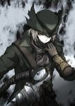1boy absurdres blonde_hair bloodborne brown_coat brown_eyes brown_gloves brown_scarf coat commentary_request expressionless gloves grey_background hand_up hat highres holding holding_weapon hunter_(bloodborne) long_sleeves looking_down saw_cleaver scarf scarf_pull shimoda_masaya short_hair solo torn_clothes torn_hat tricorne upper_body weapon