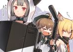 >_< 3girls ahoge animal_ear_fluff animal_ears arknights bangs black_headwear black_jacket blonde_hair blush brown_hair choker cuora_(arknights) fang flying_sweatdrops fox_ears fox_girl grey_hair hair_ornament hairclip hat holding holding_pipe holding_shield hood hooded_jacket horns id_card jacket lanyard long_hair long_sleeves looking_at_another mitake_eiru multiple_girls open_mouth orange_eyes oripathy_lesion_(arknights) pipe poncho red_eyes scarf shield short_hair signature sweatdrop translation_request vermeil_(arknights) vulcan_(arknights)