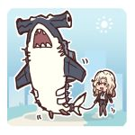 1girl black_legwear blonde_hair chibi commentary day dog_walking edwin_(cyberdark_impacts) english_commentary hair_intakes hammerhead_shark holding holding_leash hornet_(kantai_collection) kantai_collection leash long_sleeves open_mouth pantyhose sharp_teeth shinkaisei-kan size_difference smile south_pacific_aircraft_carrier_hime sun teeth
