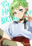 1girl blue_eyes dated green_hair happy_birthday highres looking_at_viewer macross macross_delta pointy_ears pote-mm red_skirt reina_prowler short_hair skirt solo v