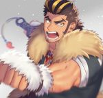 1boy blonde_hair body_hair brown_hair chest_hair facial_hair fighting_stance highres kihane_atsusane looking_at_viewer male_focus manly multicolored_hair muscle short_hair sideburns solo streaked_hair thick_eyebrows tokyo_houkago_summoners upper_body yamasachihiko_(tokyo_houkago_summoners) yellow_eyes