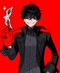1boy absurdres amamiya_ren bangs black_coat black_eyes black_hair btmr_game coat gloves grin hair_between_eyes highres holding holding_mask male_focus mask persona persona_5 red_background red_gloves signature simple_background smile solo sparkle upper_body