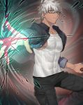 1boy alternate_costume archer brown_eyes chest collarbone covered_abs covered_navel cowboy_shot dark_skin dark_skinned_male fate/grand_order fate/stay_night fate_(series) glasses highres looking_at_viewer male_focus muscle none_(kameko227) pants short_hair solo summer_casual_(fate/grand_order) tank_top upper_body white_hair