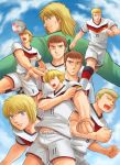 6+boys aoizawa_natsuki ball blonde_hair blue_eyes brothers brown_hair captain_tsubasa clouds deuter_muller eric_schmidt_(captain_tsubasa) franz_schester germany hermann_kaltz highres karl-heinz_schneider kevin_schmidt long_hair male_focus manfred_margus multiple_boys open_mouth scar schweil_teigerbran siblings sky soccer soccer_ball soccer_uniform spiky_hair sportswear twins